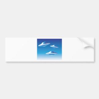 Three Flying Unidentified Objects in the sky Bumper Sticker