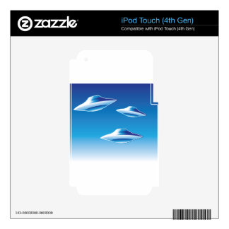 Three Flying Unidentified Objects in the sky iPod Touch 4G Decals