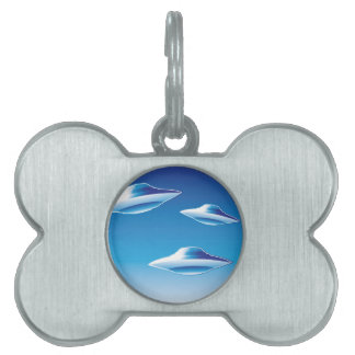 Three Flying Unidentified Objects in the sky Pet Name Tag