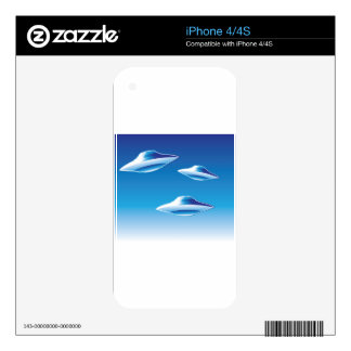 Three Flying Unidentified Objects in the sky Skin For iPhone 4S