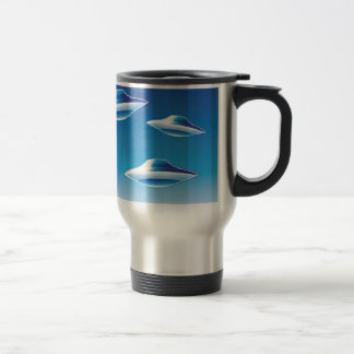 Three Flying Unidentified Objects in the sky Travel Mug