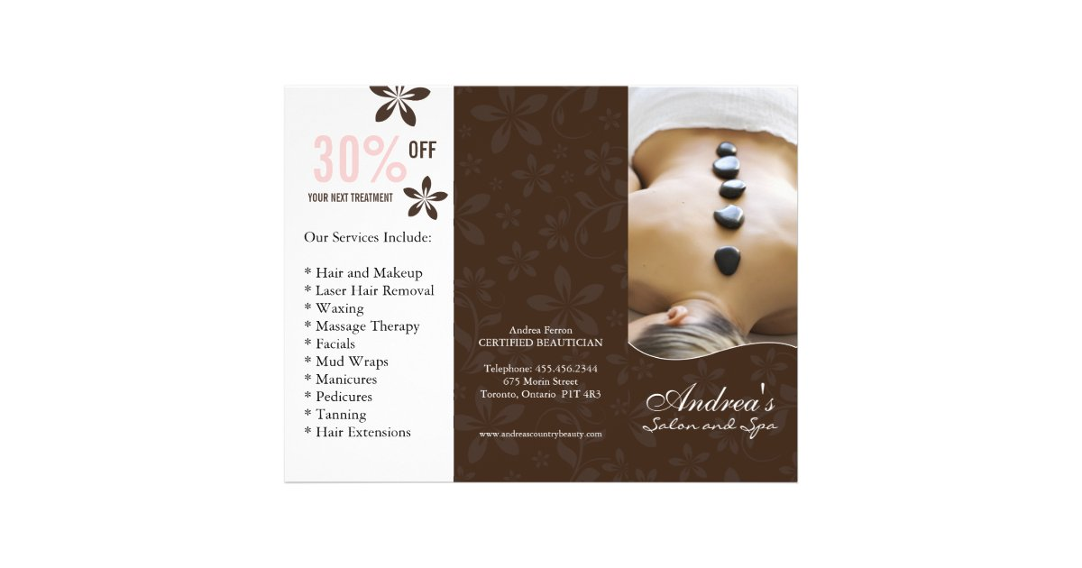 Three Fold Beauty Salon Brochure | Zazzle