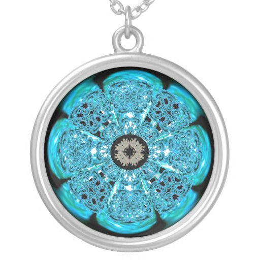 Three Fractal Flowers Necklace