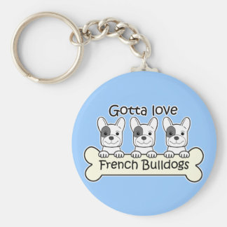 Three French Bulldog Keychain