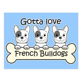 Three French Bulldog Postcard