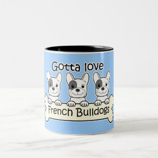 Three French Bulldog Two-Tone Coffee Mug