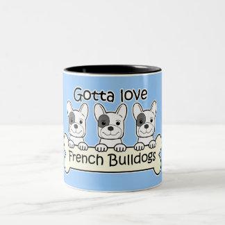 Three French Bulldog Two-Tone Coffee Mug