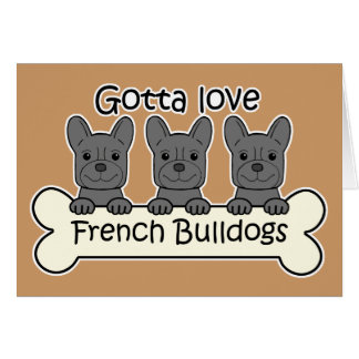Three French Bulldogs Card
