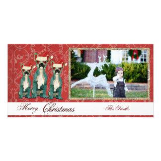 Three French Bulldogs Christmas Photo Card