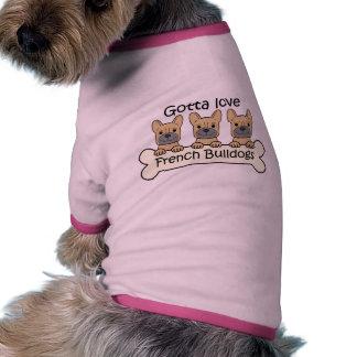 Three French Bulldogs Dog T-shirt