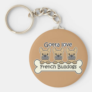 Three French Bulldogs Keychain