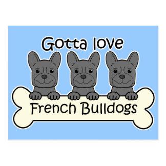 Three French Bulldogs Postcard