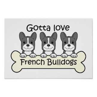Three French Bulldogs Poster