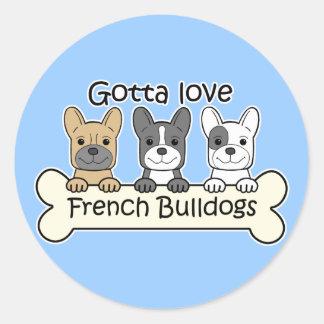 Three French Bulldogs Sticker