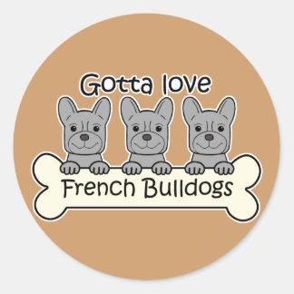 Three French Bulldogs Stickers