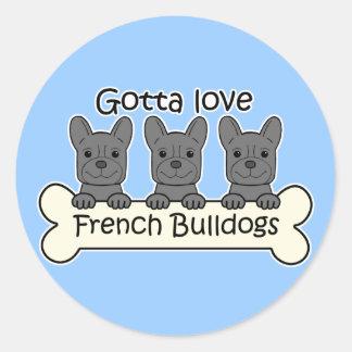 Three French Bulldogs Round Sticker