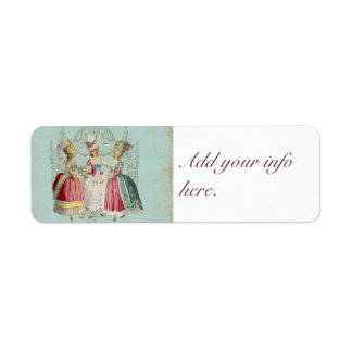 Three French Girls Party Stickers Tags Return Address Label