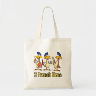 three french hens 3rd third day of christmas canvas bags