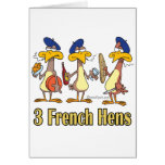 three french hens 3rd third day of christmas greeting card