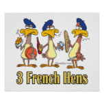 three french hens 3rd third day of christmas poster