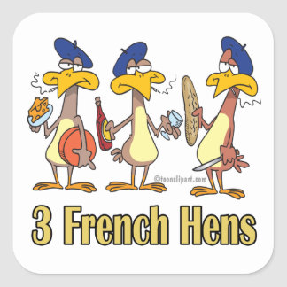 three french hens 3rd third day of christmas square sticker