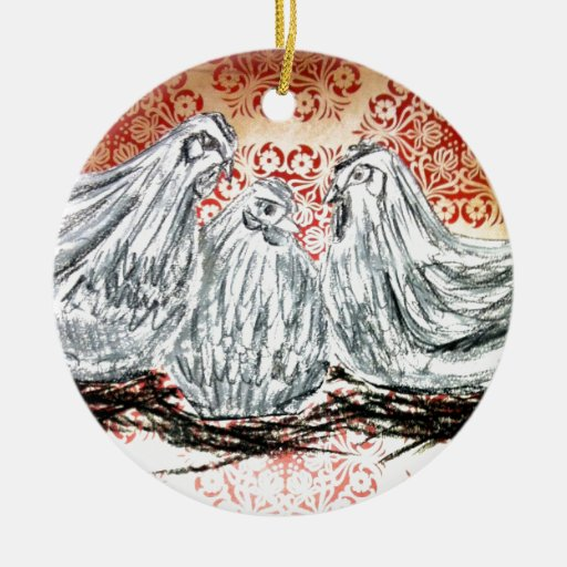 Three French Hens Ceramic Ornament