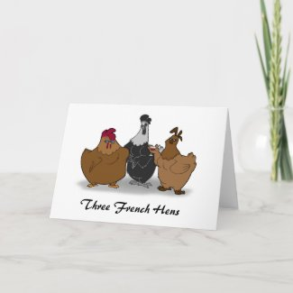 Three French Hens Christmas Card card