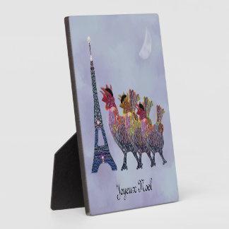 Three French Hens Joyeux Noel Decorative Plaque