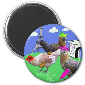 Three French Hens Fridge Magnets