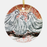 Three French Hens Double-Sided Ceramic Round Christmas Ornament