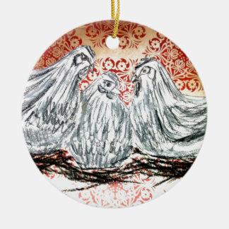 Three French Hens Christmas Ornament