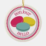 Three French Macarons Bonjour Hello Ornament