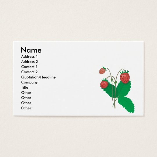 three fresh strawberries business card