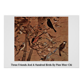 Three Friends And A Hundred Birds By Pien Wen-Chi Poster