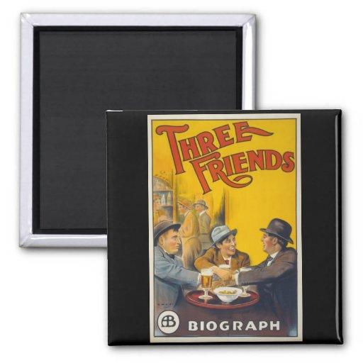 Three Friends Movie Poster Refrigerator Magnet
