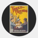 Three Friends Movie Poster Stickers