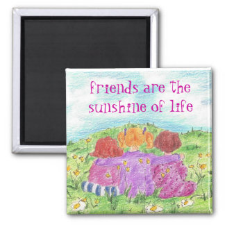 Three Friends Summer Flower Meadow 2 Inch Square Magnet