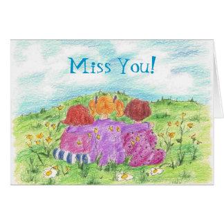 Three Friends Summer Flower Meadow Miss You  Card