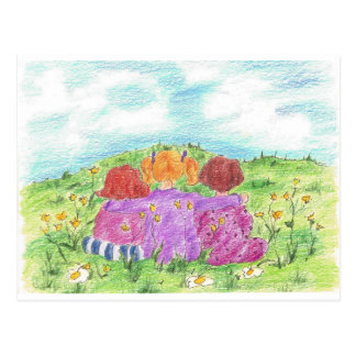 Three Friends Summer Flower Meadow Post Cards
