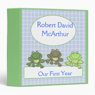 THREE FROG Froggy Baby Scrapbook First Year Binder