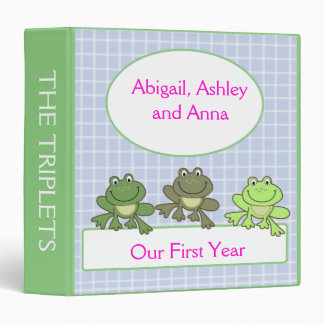 THREE FROG Froggy Baby Scrapbook First Year 3 Ring Binder