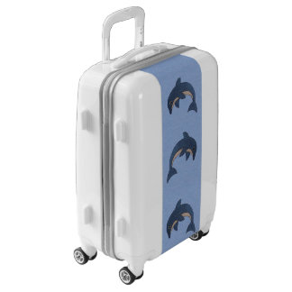 Three Fun Dark Blue Ocean Beach Jumping Dolphins Luggage