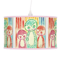 Three Funky Colurful Owls Hanging Lamp
