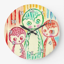 Three Funky Colurful Owls Large Clock