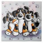 Three Funny Bernese Mountain Dogs Cartoon Ceramic Tile