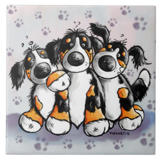 Three Funny Bernese Mountain Dogs Cartoon Ceramic Tile