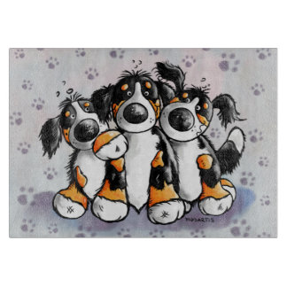 Three Funny Bernese Mountain Dogs Cutting Board
