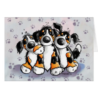 Three Funny Bernese Mountain Dogs Greeting Card