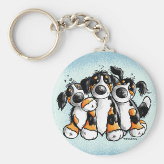 Three Funny Bernese Mountain Dogs Key Chain