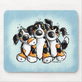 Three Funny Bernese Mountain Dogs Mousepad